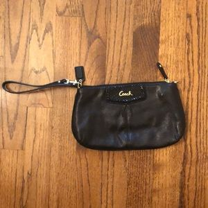 Coach wristlet black leather